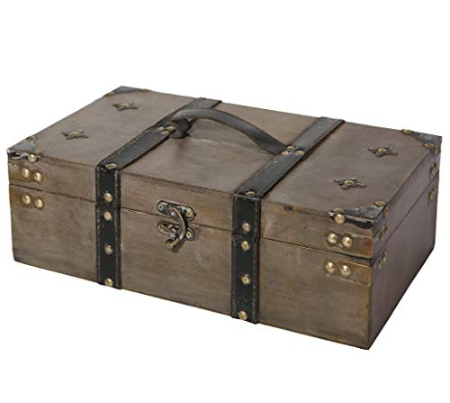 Chest Storage Decorative (Soul & Lane Winchester Wooden Storage Chest Trunk | Decorative Treasure Stash Box)