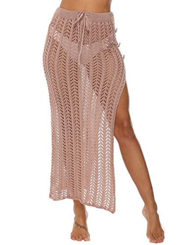 Kistore Women Long Crochet Beach Skirt Cover Up High Slit Crochet Bikini Skirt Cover Up Khaki