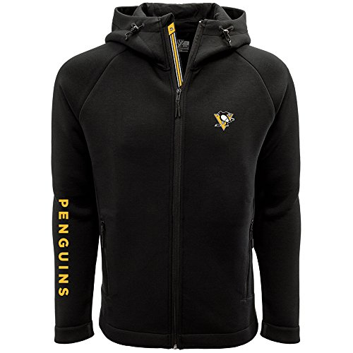Levelwear LEY9R NHL Pittsburgh Penguins Adult Men Titan Banner Stripe Full Zip Hooded Jacket, Large, Black