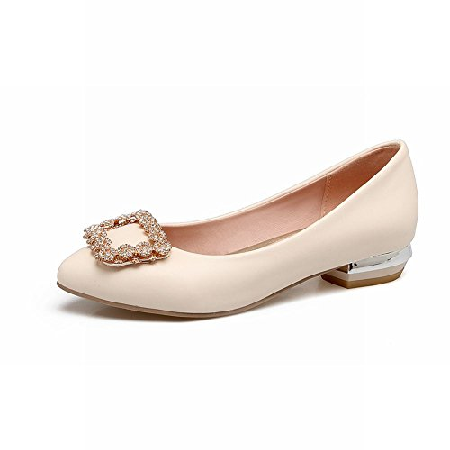 Charm Foot Womens Comfort Strass Scarpe Con Tacco Basso Scarpe Beige