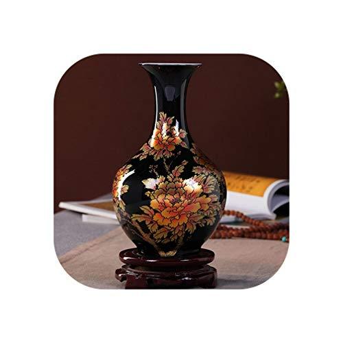 New Chinese Style Vase Black Porcelain Crystal Glaze Flower Vase Home Decor Handmade Shining Famille Rose Vases,Dark Khaki