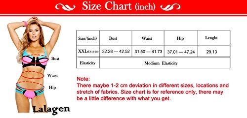Lalagen Women s Lace Sheer Strappy Deep V Neck Sexy Plus Size Lingerie Set ba9722c97