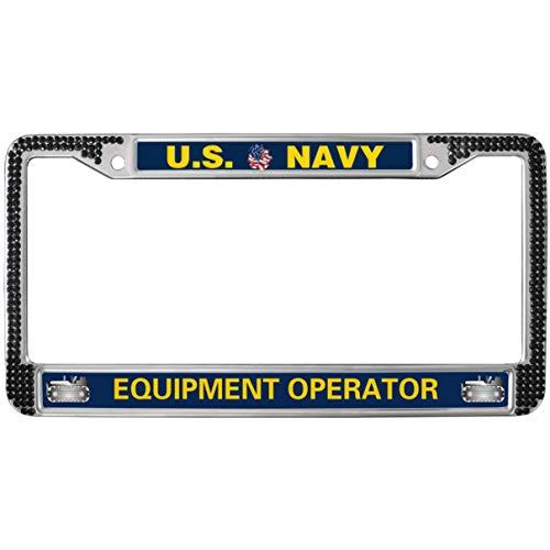 GND US Navy Equipment Operator License Plate Frame Rhinestones Black,United States Navy License Plate Frame for Women Bling Glitter Rhinestones License Plate Frame for US Canada Cars