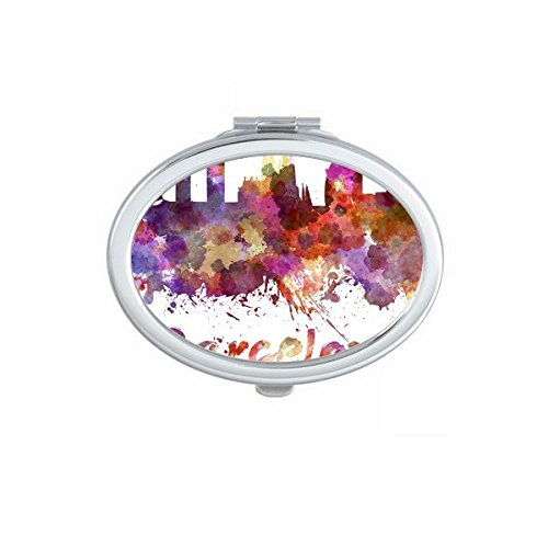 Barcelona Spain Country City Watercolor Illustration Oval Compact Makeup Pocket Mirror Portable Cute Small Hand Mirrors Gift by DIYthinker