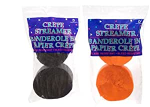 2 ORANGE Rolls + 2 BLACK Crepe Streamers, PERFECT FOR HALLOWEEN, MADE IN USA