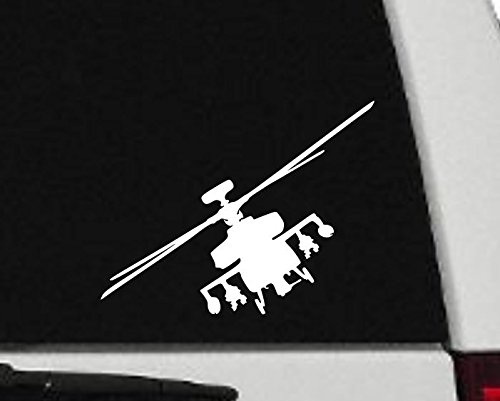 Decal - Helicopter - Apache Helicopter Silhouette Vinyl Decal - Military Car Decal - H6 (8