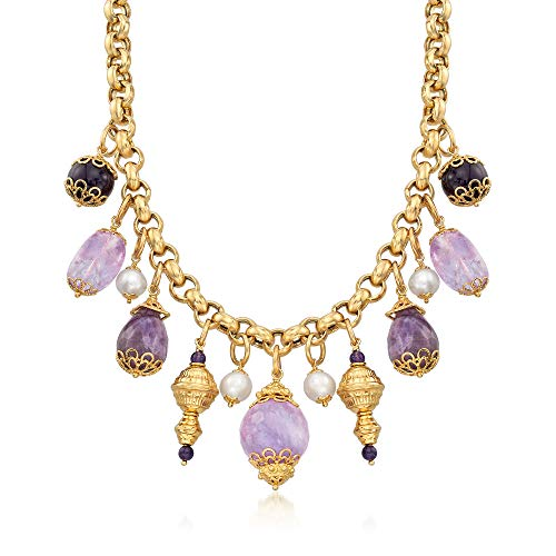 Ross-Simons Italian Amethyst and Cultured Pearl Necklace in 18kt Gold Over Sterling Amethyst Cultured Pearl Necklace