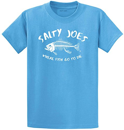 Salty Joe's Where Fish Go to Die Heavyweight Cotton (Mens Fishing Graphic Tees)