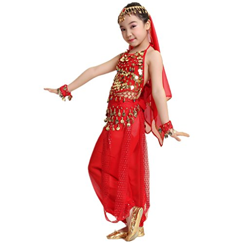 MUNAFIE Children Belly Dance Costumes Fancy Party Cosplay Costumes Halloween Dance Sets(Medium,Red) -