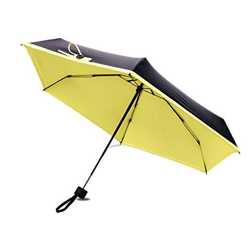 Mini Umbrella,5 Folding Small Compact Travel Umbrella with Cover & 90% UV Protection, Ultra Lightweight (yellow)