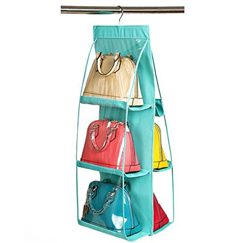 Santwo 6 Pocket Handbag Anti-dust Cover Clear Hanging Closet Bags Organizer Purse Holder Collection Shoes Save Space from Santwo