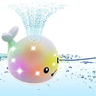 GRUSEMI Bath Toy, Whale Spray Water Squirt Toy LED Light Up Float Toys Bathtub Shower Pool Bathroom Toy for Baby Toddler Infant Kid Water Electric Sprayer
