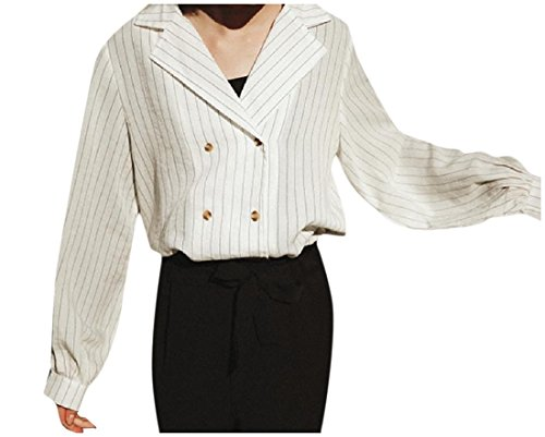 Abetteric Women's Elegant Linen Pinstripe Thin Suit Jacket Blazer Coat White One-Size White Pinstripe Blazer