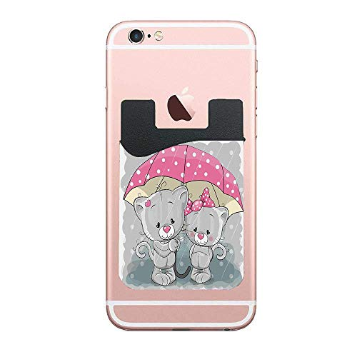 ZninesOnhOLD Partner Kittens with Umbrella Under The Rain Cute Couple Love Romance Artsy Image Cell Phone Card Wallet Phone Card Pocket for iPhone Android Samsung Galaxy 2 PCS