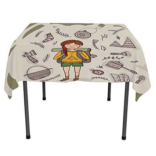 All of better Explore Clear Tablecloth Hiker Girl with a Backpack with Doodle Boho Ethnic Ornate Native American Elements Multicolor Camper Picnic Table Cloth Spring/Summer/Party/Picnic 70 by 70