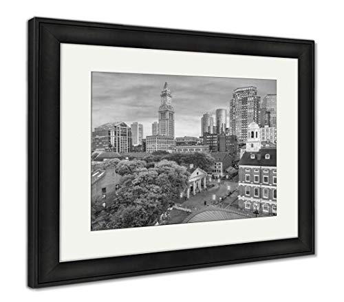 Ashley Framed Prints Boston, Massachusetts, USA Skyline, Wall Art Home Decoration, Black/White, 34x40 (Frame Size), Black Frame, AG32663105