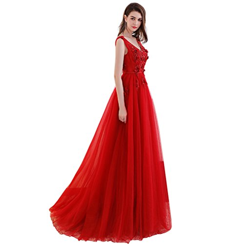 b85a1e8efbf7a1 Abendkleider Tüll Langes Perlen A-linie Damen Rot Sptize Ballkleier 36 Für  Schwanger Blume V ...