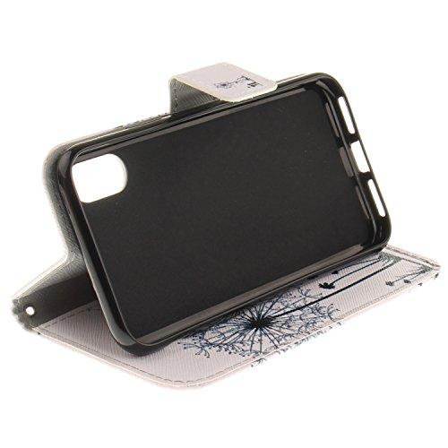 iPhone X Hülle Hübscher Löwenzahn PU Leder Wallet Handytasche Flip Etui Schutz Tasche mit Integrierten Card Kartensteckplätzen und Ständer Funktion Für Apple iPhone X / iPhone 10 (2017) 5.8 Zoll + Zwe