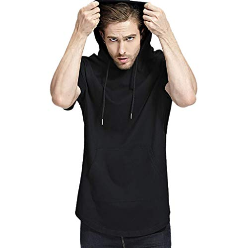 POQOQ T Shirt Men Pure Color Zipper Pocket Hooded Casual Fashion Lapel Short Sleeve Shirt XL -