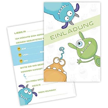 10 tarjetas de invitación Monster Party. Para Cumpleaños ...