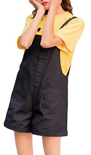 枯渇リビジョンリズムBeiBang(バイバン) レディース サロペット 短パン ゆったり 無地 ストリート 夏 オールインワン 韓国ファッション オーバーオール かわいい おしゃれ ショートパンツ