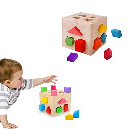 ful 13 Holes Wooden Shape Sorter Geometric Sorting Box, Baby Kids Wooden Building Blocks Educational Toy ()