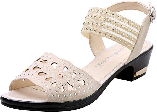 Abby Tacco Basso Alla Caviglia Da Donna A Punta Smussata Con Plateau 115-5 Suola In Morbida Suola Moderna Con Sandali Quadrati