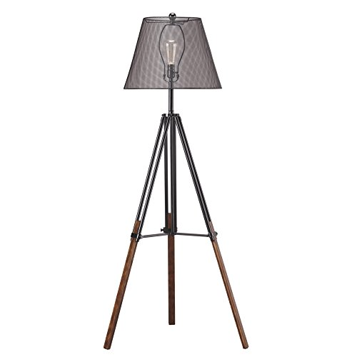 Ashley Furniture Signature Design – Leolyn Floor Lamp with Metal Shade – Adjustable Height -Black and Brown