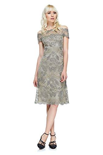 (Tadashi Shoji Women's Cap Sleeve Illusion Lace Dress, Smoke/Pearl, 12)