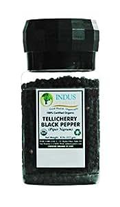 Indus Organics Tellicherry Black Peppercorns, 8 Oz Jar Grinder, High Purity, Freshly Packed