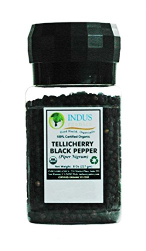 Indus Organics Tellicherry Black Peppercorns, 8 Oz Jar Grinder, High Purity, Freshly Packed