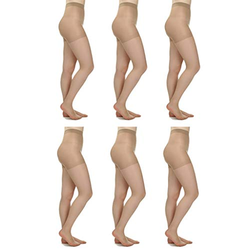 Silky Toes 3 or 10 Pairs Control Top Sheer Pantyhose (Small, Nude (6 Per Pack))