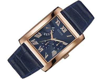 GUESS Men's Rose Gold Tone Rectangular Blue Strap Watch ()