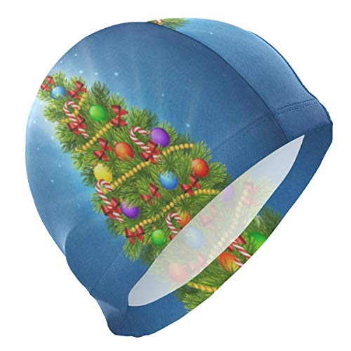 (Loveful Personalized Christmas Tree On Blue Swim Cap Elastic and Durable Swimming Cap Lightweight Bathing Hat for Adults Men Youths - Keep Hair Clean and Dry)