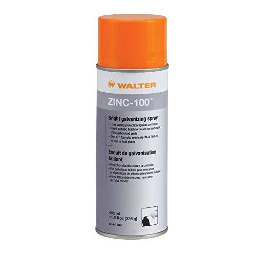 Walter 53H102 Zinc-100 Bright Galvanizing Spray (400ml) - Safe, Long Lasting Corrosion Protection Spray. Metal Repair ()