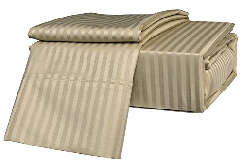 (RK Linen Deal in King Size Bed Sheets Set, Stripe Taupe - Best Rated 4-Piece Bed Sheet Set - Features Perfect Fitting on 24