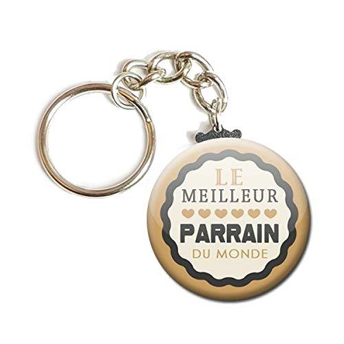 Porte Cl/és Cha/înette 3,8 centim/ètres le Meilleur Parrain du Monde Id/ée Cadeau Accessoire Parrain Naissance Bapt/ême Communion