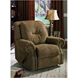 Brown Overstuffed Fabric Upholstered ROCKER / RECLINER