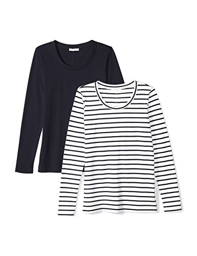 Daily Ritual Women's Lightweight 100% Supima Cotton Long-Sleeve Scoop Neck T-Shirt, 2-Pack
