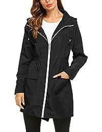 Womens' Waterproof Lightweight Raincoat Hooded Outdoor...