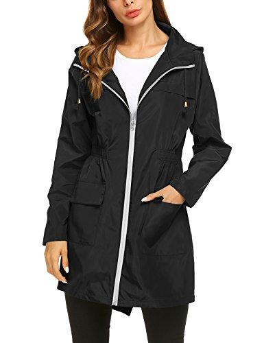 ZHENWEI Womens' Waterproof Lightweight Trench Raincoat,Hooded Outdoor Hiking Windbreaker Long Rain Jacket