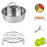 4 Pieces Stainless Steel Steamer Basket with Egg Steamer Rack for Instant Pot and Pressure Cooker Accessories, Fits Instant Pot 6, 8 qt, Anti-Scald Gloves Free
