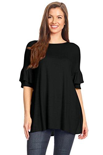 Simlu Womens Tunic Tops to Wear with Leggings Ruffle Sleeve Reg and Plus Size Tunics T Shirts - Made in USA Black (Womens Black Knit Ruffle Dress)