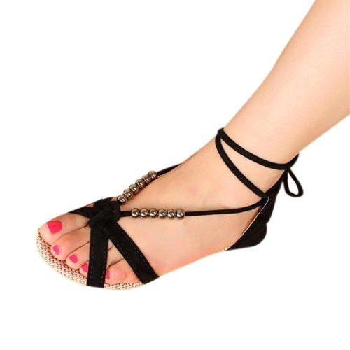 Hee Grand Damen Sommer Sandalen Perlen Lace Up Flache Schuhe Schwarz