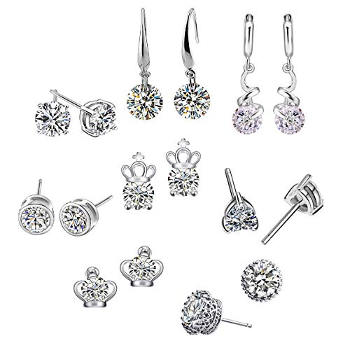 Kingstar 8 Pairs 14k Gold Plated White Overlay Naked Drill Swarovski Element Crystal Drop Earrings for Women ()