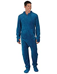 PajamaGram Men's Hoodie-Footie Fleece Onesie Pajamas