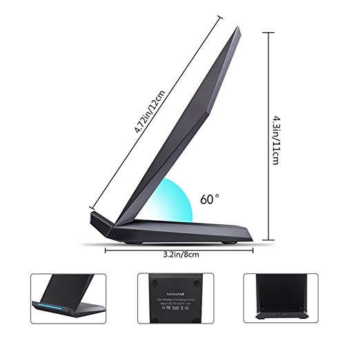 Fast Wireless Charger, NANAMI Qi Certified Charger Wireless Charging Stand for Samsung Note8, iPhone 8/8 Plus, iPhone X, Galaxy S9 S9 Plus S8 S8+ S7 S7 Edge Note 5 S6 Edge+ and All Qi-Enabled Devices by NANAMI (Image #7)
