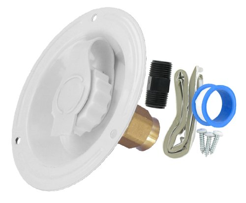 Valterra A01-0176LFVP White Lead-Free Metal Recessed Water (City Water Inlet)