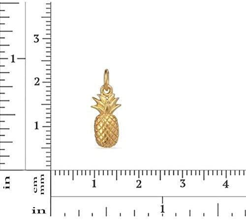 12014 24Kt Satin Gold Plated Sterling Silver Pineapple Charm 17.5x6.8mm //1 1Pc