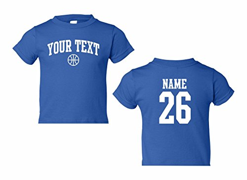 Toddler Custom Personalized T-shirt, Basketball Arched Text, Back Name & Number